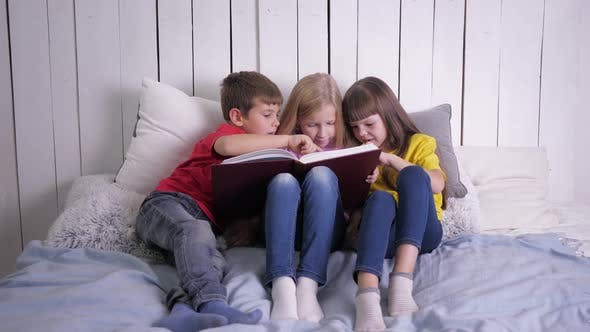 Thumbnail for Education, Smart Kids in Multicolor Clothes Learn To Read at Home Sitting on Couch