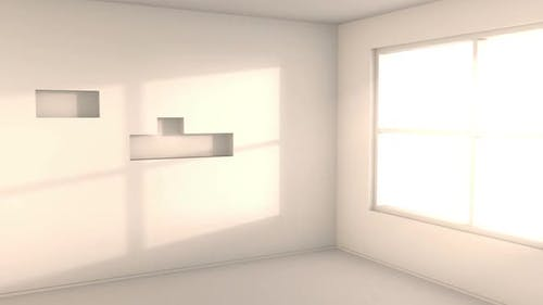 Empty white room with sunlight from the window