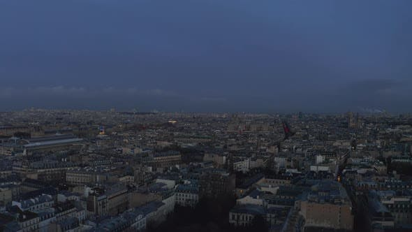 Cover Image for AERIAL: Paris, France Blue Hour Cityscape Drone View