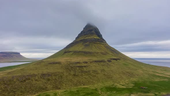 Kirkjufell Mountain on Summer Day. Iceland. Aerial View