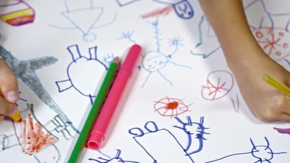 Children Drawing Fantasy Creatures