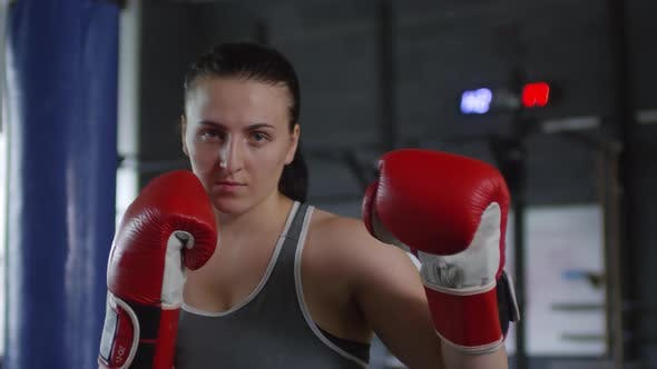 Female Boxer Standing in Defensive Position and Posing for Camera