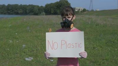No Plastic. Plastic Planet Pollution Concept.