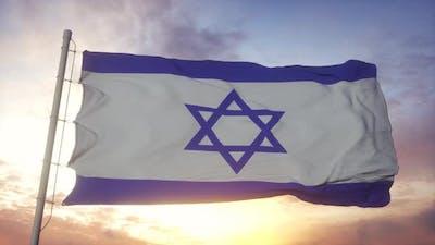 Israel Flag Waving in the Wind