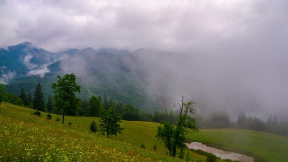 Thumbnail for Mountain Landscape with Clouds and Fog