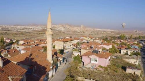 Top View of Goreme Town at Cappadocia, Turkey.