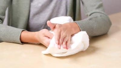 Woman Hand Sweating