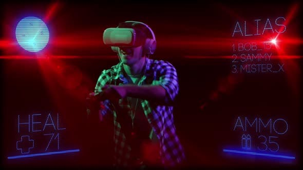Thumbnail for Man on Background of Computer Graphics in Virtual Reality Glasses
