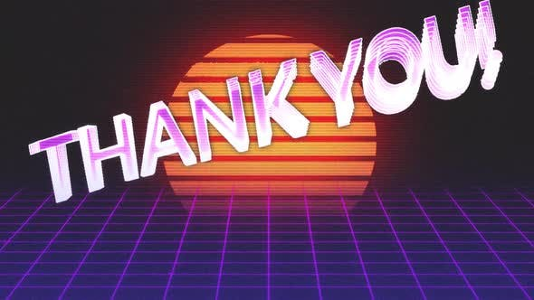 Animation vintage video game screen with words thank you written