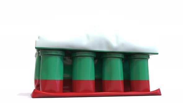 Deflating Inflatable Bank Building with Flag of Bulgaria