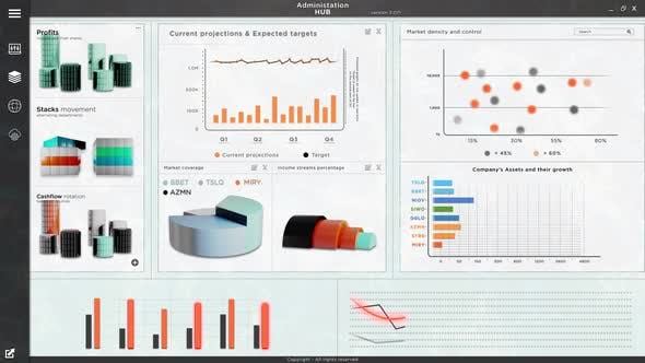 Statistics Business Sales App Software with Financial Charts