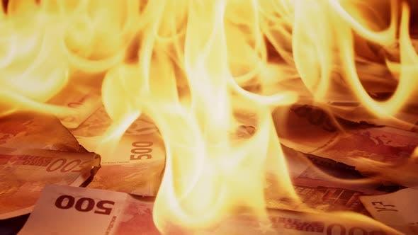 Burning of 500 Euro Banknotes Closeup