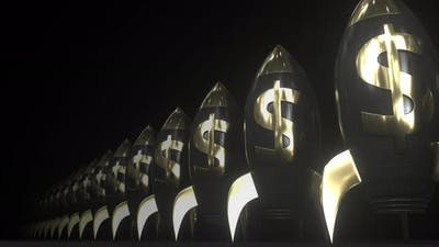 Dollar Money Symbol on Black and Gold Rockets
