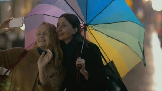 Thumbnail for Two Girls Makes Selfie On Rainy Day