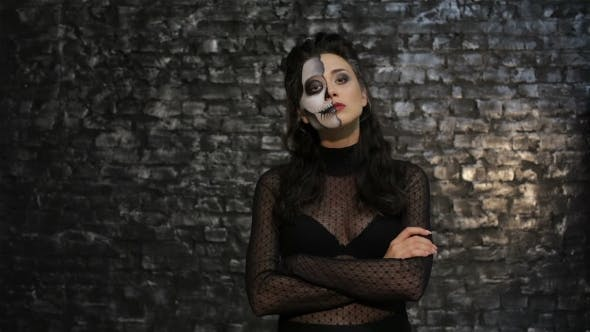 Thumbnail for Woman With Make-up Skeleton Posing