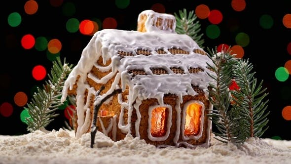 Thumbnail for Gingerbread House with Christmas Lights