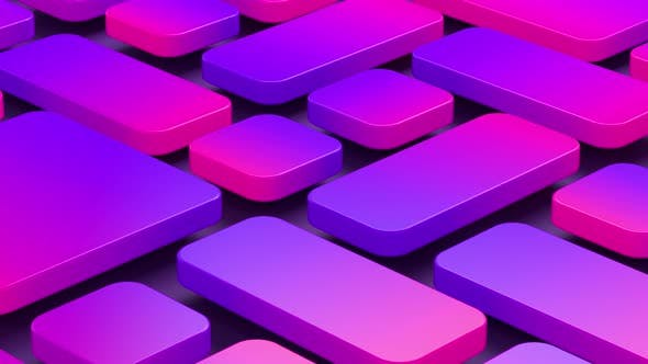 Thumbnail for Colorful gradient violet-pink glossy squares with rounded edges on a black background