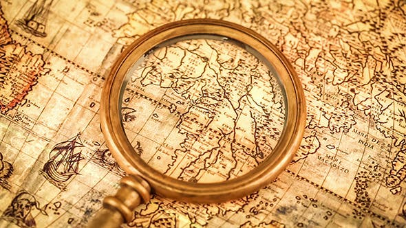 Thumbnail for Vintage Magnifying Glass Lies Ancient World Map