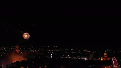 America Colorful Firework Lights In The Night Sky Fireworks Background (3)