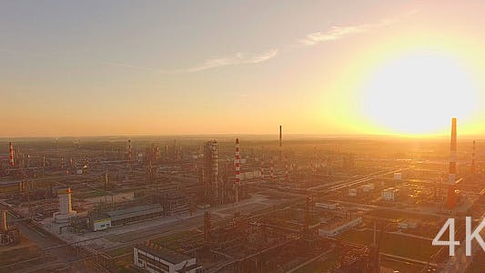 Thumbnail for The Huge Industrial Plant at Sunset