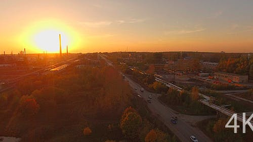 The Huge Industrial Plant and Wildlife at Sunset