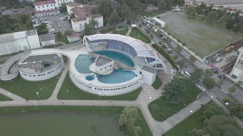 Batumi, Georgia - Jule 27 2020: Flying over the Batumi Dolphinarium