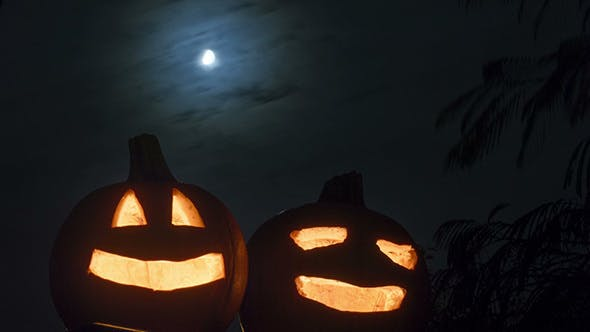 Thumbnail for Scary Halloween Pumpkins in the night