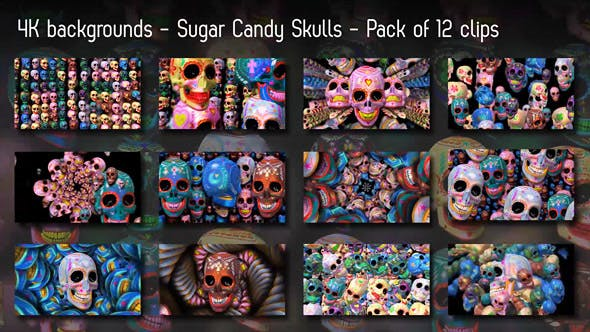 Thumbnail for Sugar Candy Skulls - 12 Clips + 6 Transitions