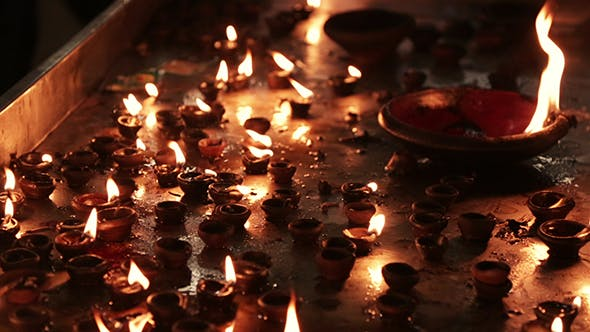 Thumbnail for Burning Candles In The Indian Temple