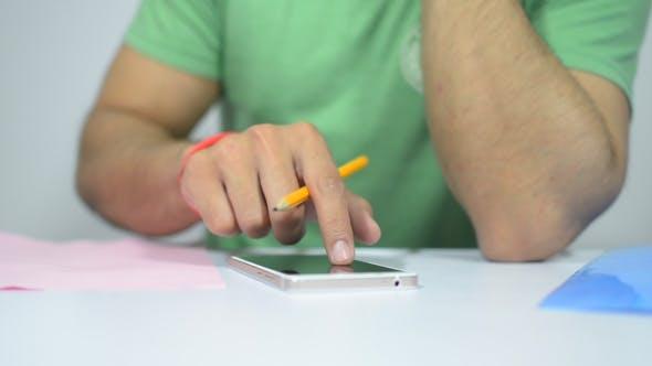 Thumbnail for Designer Working , Using Smartphone