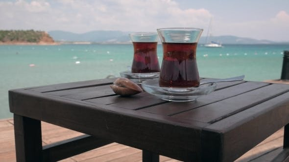 Thumbnail for Two Glasses Of Turkish Tea On The Table With