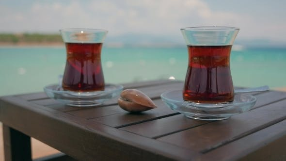 Thumbnail for Two Glasses Of Turkish Tea On The Table