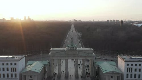 AERIAL: Over 17Th of June Street and Tiergarten with Berlin Victory Column Revealing Brandenburg