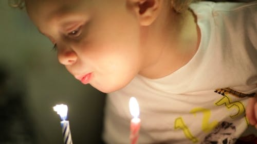 Little Boy Blowing Out The Candles.