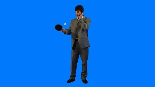Thumbnail for Businessman playing ping-pong
