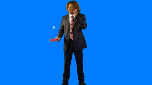 Thumbnail for Business guy playing ping-pong