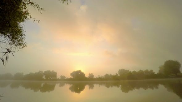 Thumbnail for Sunrise  in  Fog on River Water.