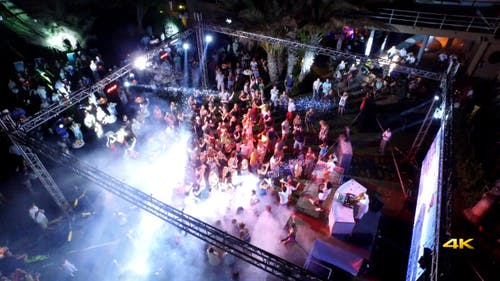 Aerial Night Club Party Music Concert