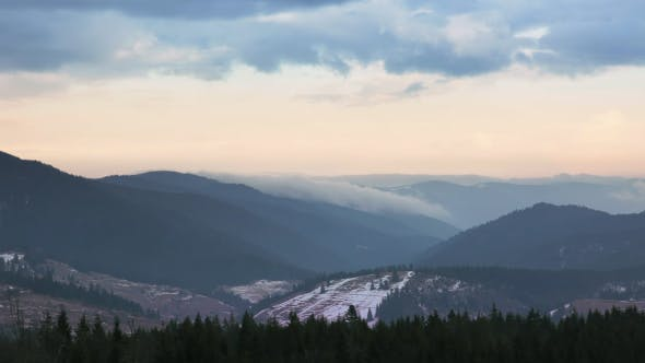 Thumbnail for Beginning of Winter in the Forested Mountains