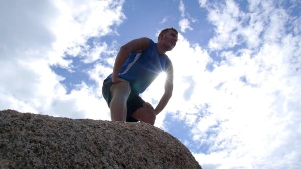 Thumbnail for Healthy Lifestyle Winner Man At Top. Sport And