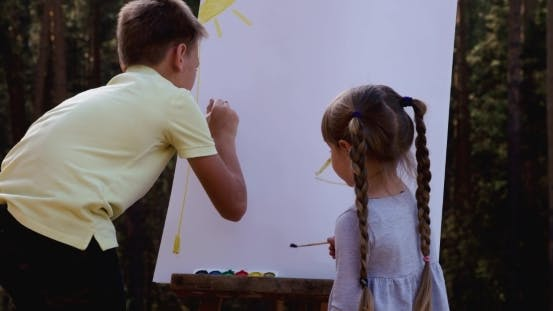 Thumbnail for Little Girl Painting Color On Easel
