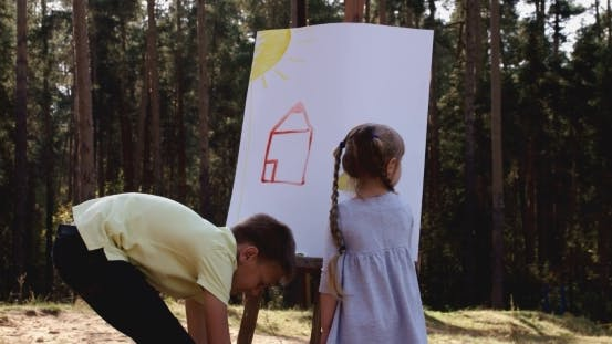 Thumbnail for Cute Adorable Young Kids With Crayons