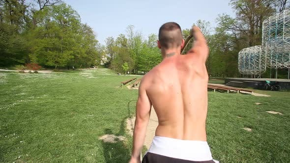 Thumbnail for Trained Man Exercising With Ropes 3