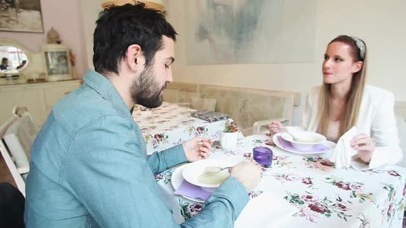 Thumbnail for Young Couple Eating Soup In A Restaurant 3