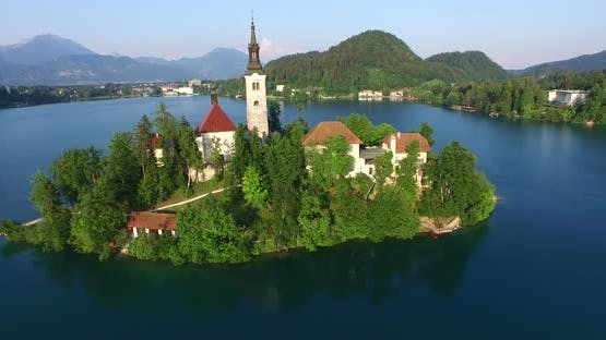 Beautiful Aerial View Of Slovenian Lake Bled In Julian Alps. 1