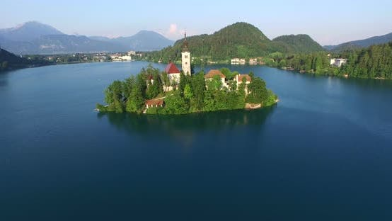 Beautiful Aerial View Of Slovenian Lake Bled In Julian Alps. 2