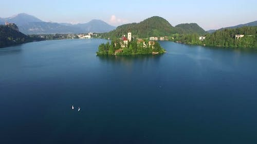 Beautiful Aerial View Of Slovenian Lake Bled In Julian Alps. 3