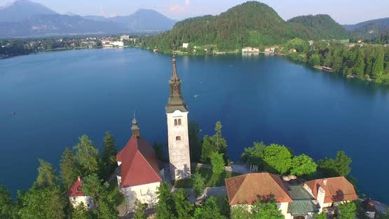 Beautiful Aerial View Of Slovenian Lake Bled In The Julians Alps.