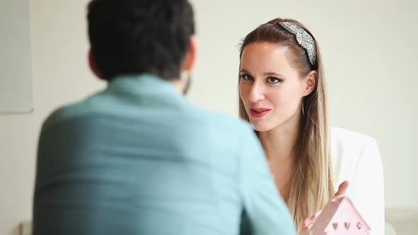 Thumbnail for Beautiful Blond Woman Talking To Man In Restaurant Environment 6