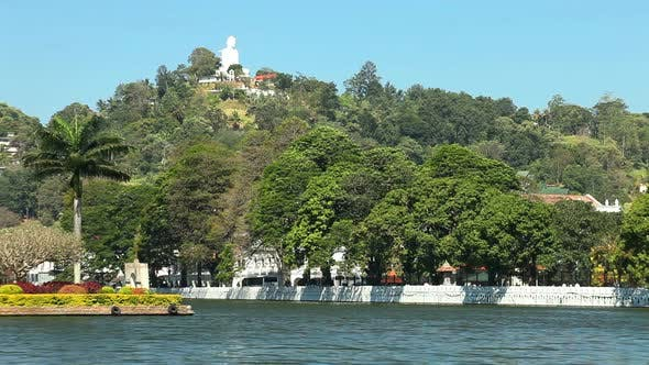Thumbnail for Kandy, Sri Lanka - February 2014: View Of Kandy Lake And Buddha Statue On Hill.